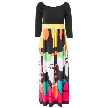 Slash Neck 1/2 Sleeve Print Dress For Women