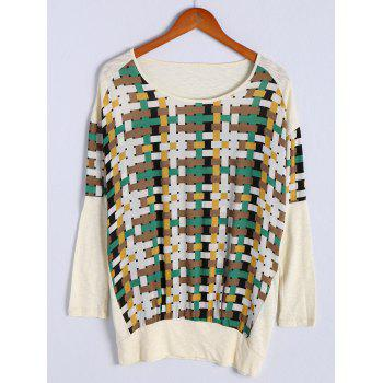 Fashionable Women's Scoop Neck Long Sleeve Color Block Patchwork T-Shirt