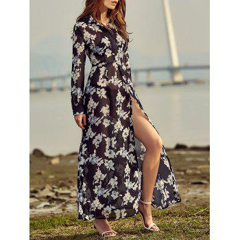 Chic High Split Floral Print Shirt Dress For Women