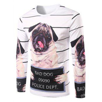 Men's Slimming 3D Dog Printing Collarless Long Sleeves