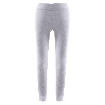 Active High Waist Side Hit Color Bodycon Stretchy Sport Pants For Women - LIGHT GRAY M