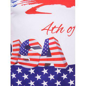 Men's Slimming Flag Printing Collarless Short Sleeves - XL XL