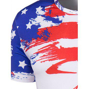 Men's Slimming Flag Printing Collarless Short Sleeves - COLORMIX XL