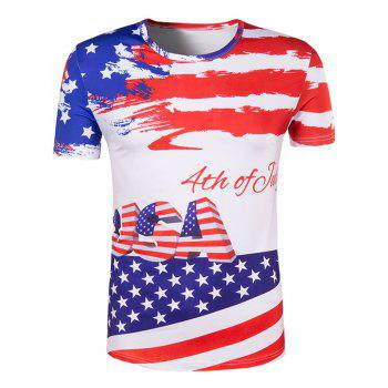 Men's Slimming Flag Printing Collarless Short Sleeves - COLORMIX L