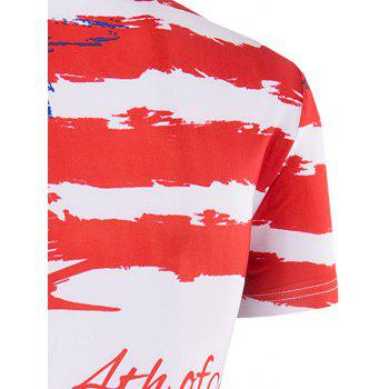 Men's Slimming Flag Printing Collarless Short Sleeves - L L