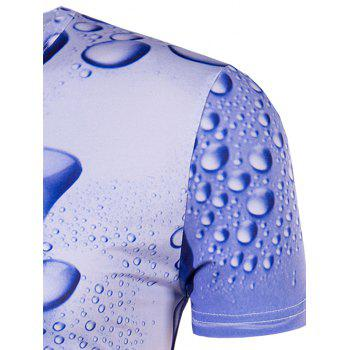 Men's Slimming 3D Drop of Water Printing Collarless Short Sleeves - BLUE BLUE