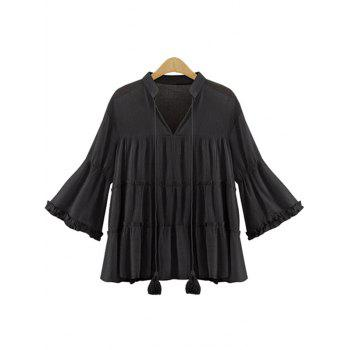 Fashionable Women's V-Neck Bell Sleeve Chiffon Blouse