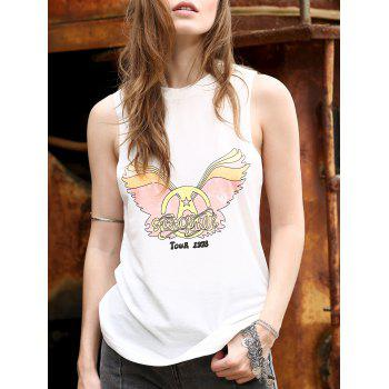Trendy Angel Wings Print Jewel Neck Women's Tank Top