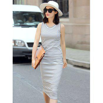 Trendy Sleeveless Round Neck Skinny Slimming Striped Women's Dress
