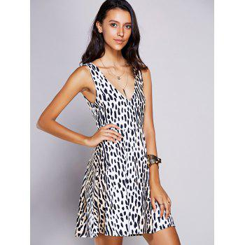 Stylish Women's V-Neck Print A-Line Dress - BLACK M