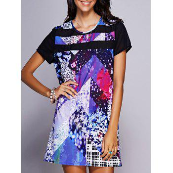 Stylish Women's Jewel Neck Floral Print Shift Dress