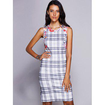 Stylish Women's Jewel Neck Sleeveless Plaid Midi Dress