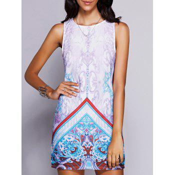 Stylish Women's Round Neck Sleeveless Print Mini Dress