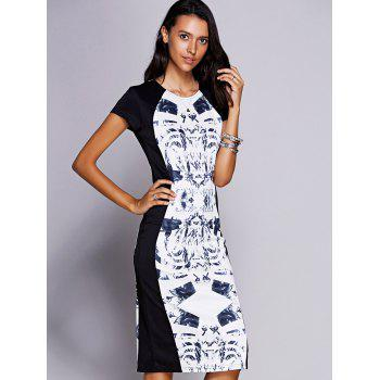 Elegant Women's Jewel Neck Short Sleeve Print Midi Dress
