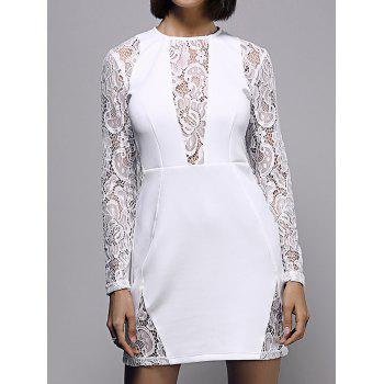 Bodycon Lace Spliced Long Sleeve Round Neck Women's Dress