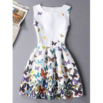 Butterfly Print Sleeveless Round Neck  Mini Dress