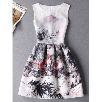 Stylish Oil Painting Print Sleeveless Round Neck Women's Dress
