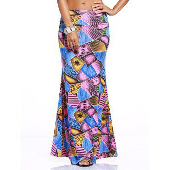Chic Multicolor Geometrical Over Hip Skirt For Women