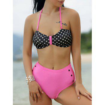 Retro Women's Halter Polka Dot Print Bikini Set