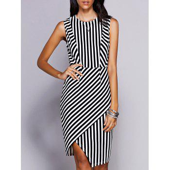 Stylish Women's Round Neck Sleeveless Striped Asymmetric Dress