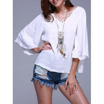 Casual Flare Sleeve Tie Front Ribbed Loose Blouse For Women