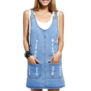 Chic Frayed Pocket Design Women's Denim Suspender Dress