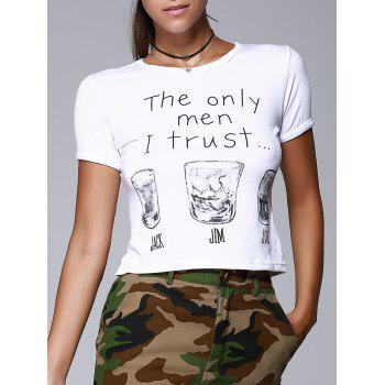 Round Collar Short Sleeve Letters Wine Glasses Print Brief Women's T-Shirt