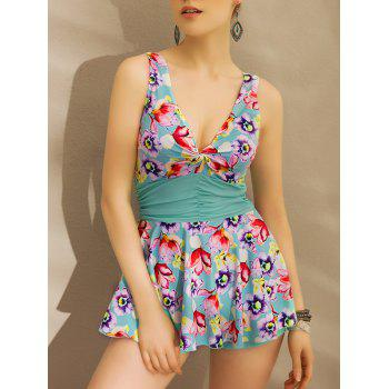 Alluring Floral Print Plunging Neck Bandeau Twist Women's Swimwear