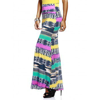 Chic Elastic Waist Color Block Printed Skinny Women's Skirt