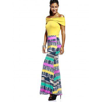Chic Elastic Waist Color Block Printed Skinny Women's Skirt - COLORMIX XL