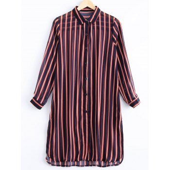 Casual Women's Long Sleeves Botton Down Collar Shirt Dress