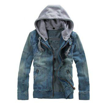 Men's Hooded Design Zipper Embellishment Long Sleeve Denim Jacket - DENIM BLUE M