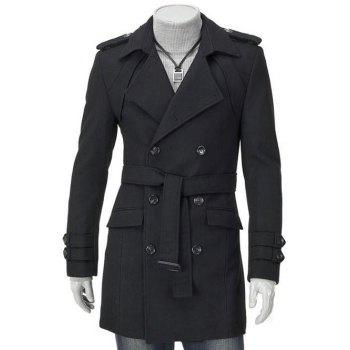 Men's Turn-Down Collar Epaulet Design Double Breasted Long Sleeve Woolen coat