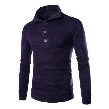 Men's Casual Stand Collar Button Design Long Sleeves Sweater