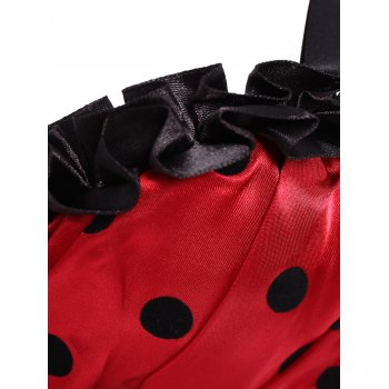 Stylish Spaghetti Strap Polka Dot Bowknot Embellished Lace-Up Women's Corset - RED M