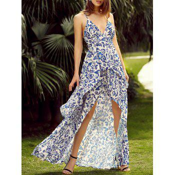 Full Print Sleeveless High Low Backless Maxi Dress