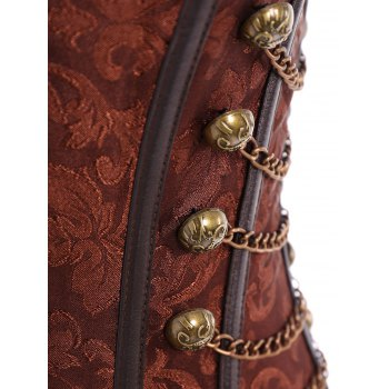 Vintage Steampunk Alloy Chain Lace-Up Corset For Women - BROWN XL