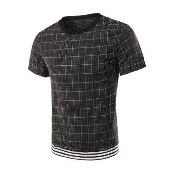 Rib Splicing Design Round Neck Checked Short Sleeve Men's T-Shirt