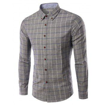 Stylish Checked Turn-Down Collar Long Sleeve Men's Shirt