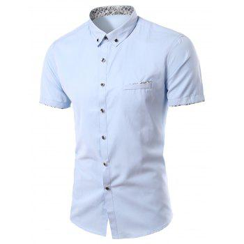 Stylish Flower Print Edging Turn-Down Collar Short Sleeve Men's Shirt