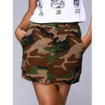 Trendy Zipper Fly Button Embellished Camo Print Women's Skirt