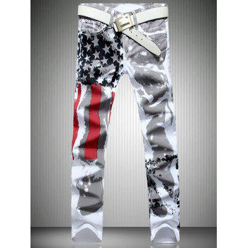 Men's Casual Colorful Printing Zip Fly Straight Legs Denim Pants