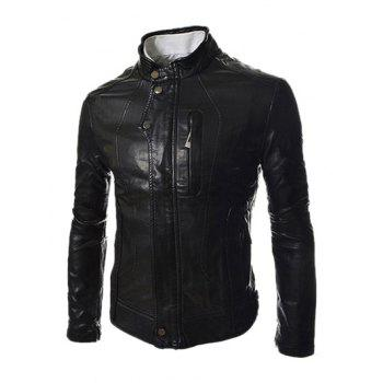 Men's PU Leather Stand Collar Zipper Design Long Sleeves Slimming Jacket
