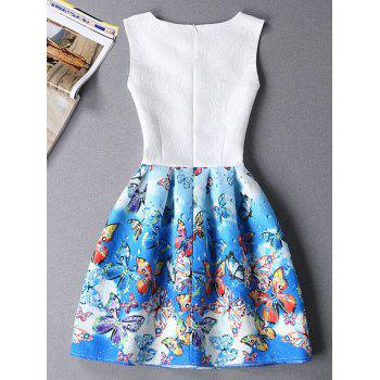 Cute Butterfly Print Ombre Sleeveless Round Neck Women's Dress - BLUE S