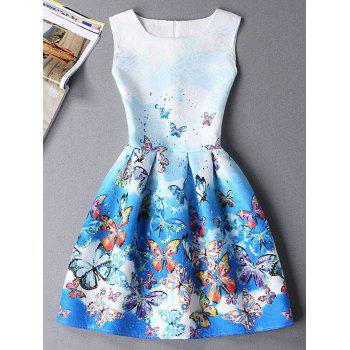 Cute Butterfly Print Ombre Sleeveless Round Neck Women's Dress