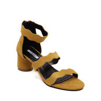 Concise Flock and Ankle Strap Design Sandals For Women