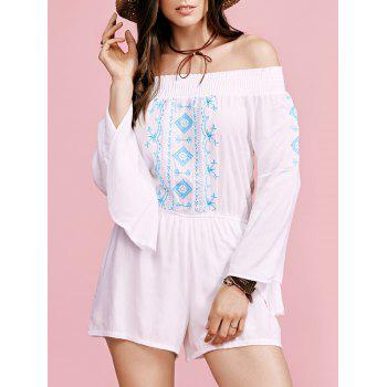 Stylish Off The Shoulder Flare Sleeve Embroidery Women's Romper
