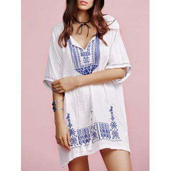 Stylish V Neck Half Sleeves Ethnic Embroidery Women's Dress