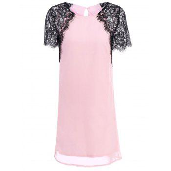 Sweet Scoop Neck Short Sleeve See-Through Spliced Women's Dress