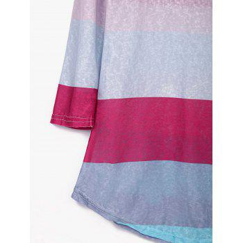 Stylish Scoop Neck 3/4 Sleeve Colored Striped Women's T-Shirt - COLORMIX L